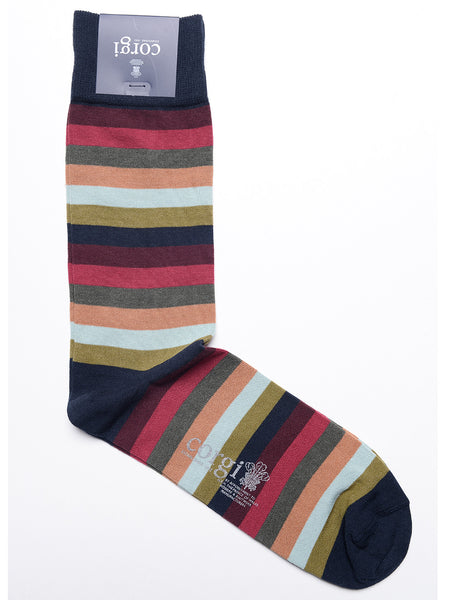 CORGI - Cotton Striped Dress Socks in Navy, Rose, Peach, and Olive