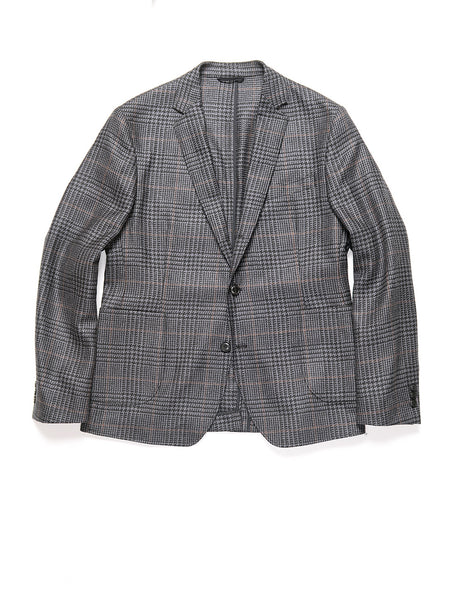 BROOKLYN TAILORS - BKT35 Unstructured Jacket in Prince of Wales Check - Battleship Gray