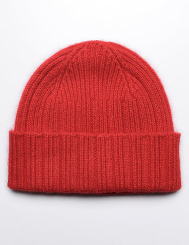 DRAKE'S - Ribbed Watch Cap in Geelong-Angora - Red