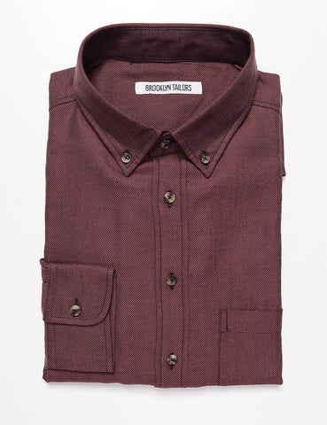 BROOKLYN TAILORS - BKT10 Slim Casual Shirt in Soft Basketweave - Aged Brick