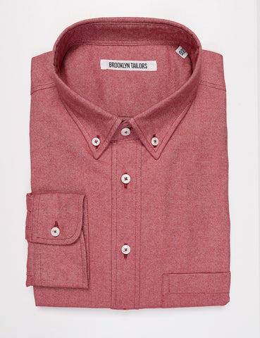 FINAL SALE: BROOKLYN TAILORS - BKT10 Slim Casual Shirt in Brushed Oxford - Red