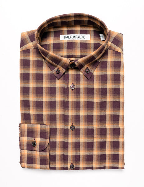 BROOKLYN TAILORS - BKT10 Slim Casual Shirt - Maroon and Goldenrod Plaid