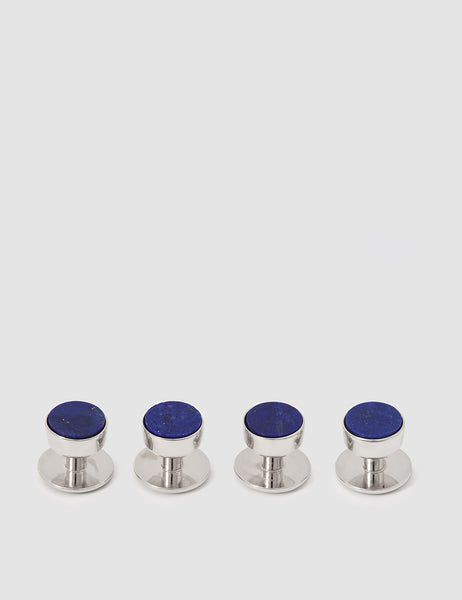 CODIS MAYA - Stone Bow Stud Set in White Rhodium & Lapis Lazuli
