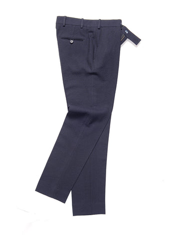 BROOKLYN TAILORS - BKT50 Tailored Trousers in Crinkled Wool / Cotton - Navy