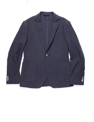 BROOKLYN TAILORS - BKT35 Unstructured Jacket in Crinkled Wool / Cotton - Navy
