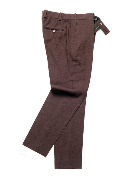 BROOKLYN TAILORS - BKT50 Tailored Trouser in Crinkled Wool / Cotton - Zinfandel