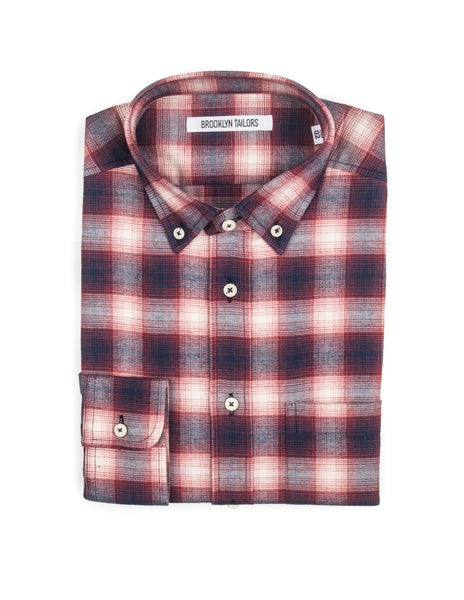 BROOKLYN TAILORS - BKT10 Sport Shirt in Red Western Plaid