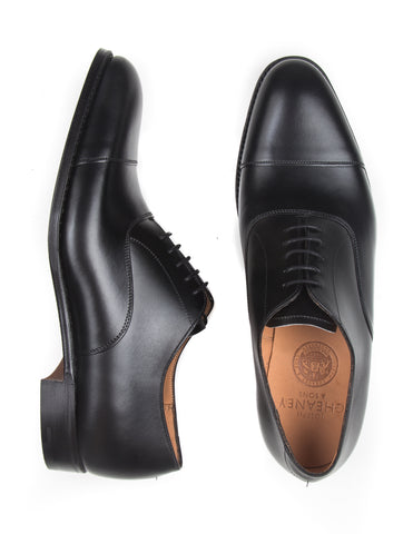JOSEPH CHEANEY - Lime Oxford Shoes in Black Calf Leather