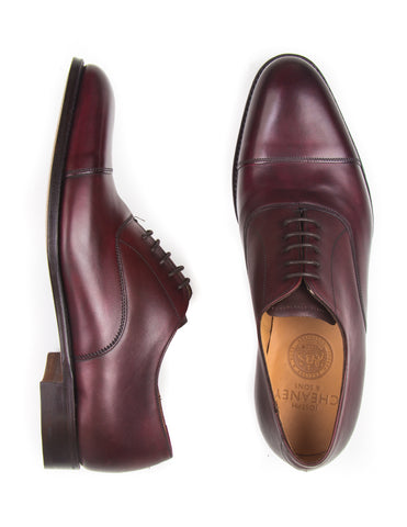 JOSEPH CHEANEY - Lime Oxford Shoes in Burgundy Calf Leather