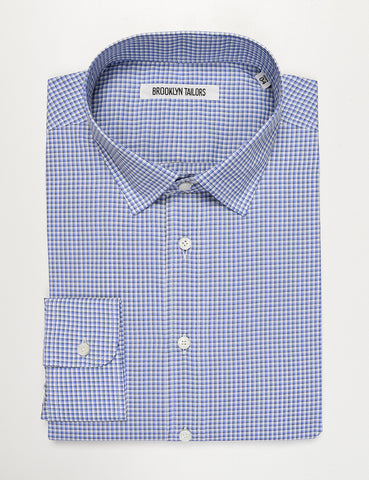 BROOKLYN TAILORS - BKT20 Dress Shirt in Micro Check - Blue and White