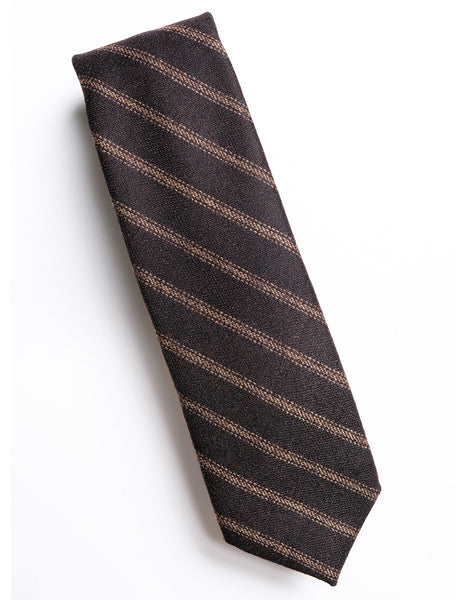 FINAL SALE: BROOKLYN TAILORS - Striped Wool Tie - Brown