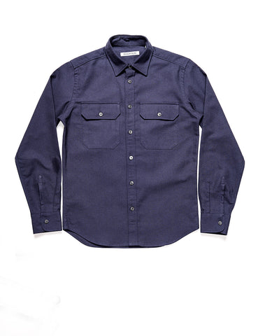 BROOKLYN TAILORS - BKT14 Relaxed Casual Shirt In Cotton / Wool Crepe - Ink