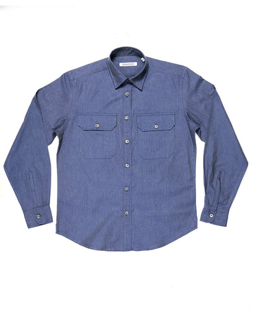 BROOKLYN TAILORS - BKT14 Relaxed Casual Shirt in Cotton Herringbone - Heather Blue