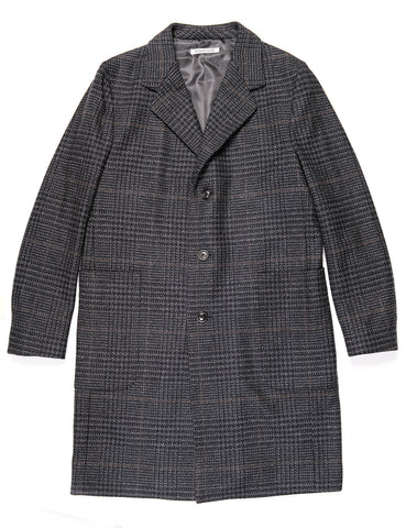 BROOKLYN TAILORS - BKT79 Overcoat in Wool Plaid - Charcoal Plaid