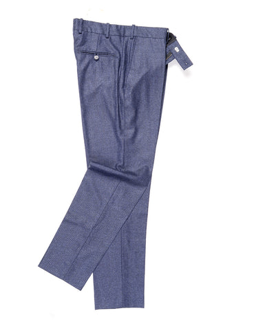 BROOKLYN TAILORS - BKT50 Tailored Trousers in Brushed Birdseye - Deep Blue