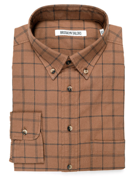 FINAL SALE: BROOKLYN TAILORS - BKT10 Casual Shirt in Twill Check - Rust with Navy Check