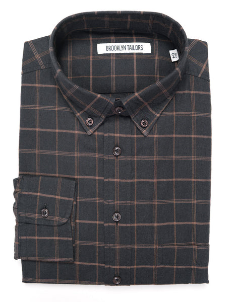 BROOKLYN TAILORS - BKT10 Casual Shirt in Twill Check - Black with Chestnut