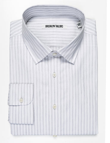 BROOKLYN TAILORS - BKT20 Dress Shirt in Double Stripe  - White with Pale Gray Stripe