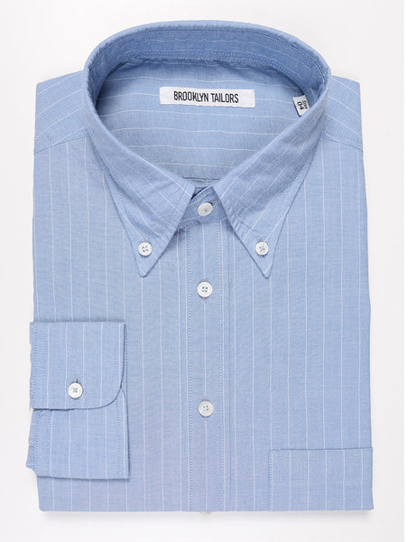 BROOKLYN TAILORS - BKT10 Casual Shirt in Cotton Pinstripe - Sky with White