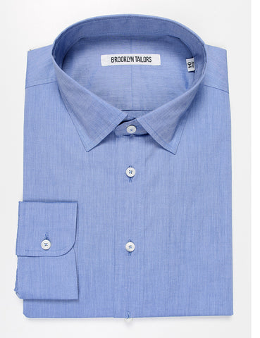 FINAL SALE: BROOKLYN TAILORS - BKT20 Dress Shirt in Cotton Poplin - Heathered Blue