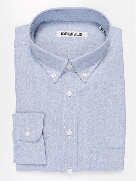 BROOKLYN TAILORS - BKT10 Slim Casual Shirt in Mouliné Oxford - Cloud