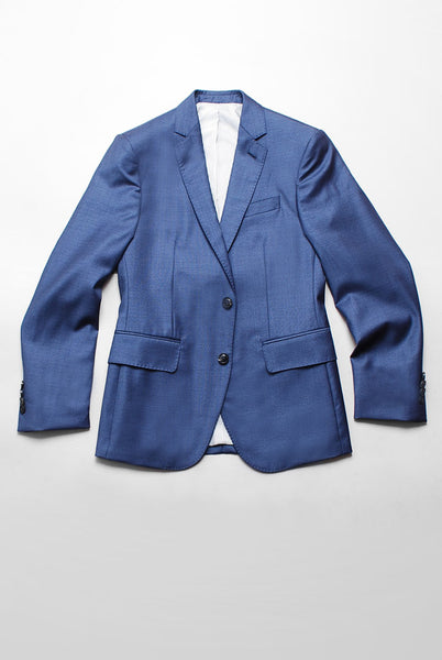 BROOKLYN TAILORS - Full Canvas Tailored Jacket - Muted Blue Tickweave