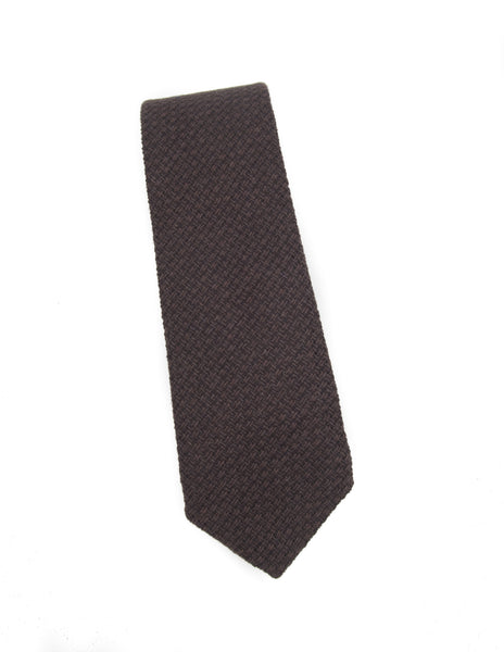 FINAL SALE-BROOKLYN TAILORS - Brown Open Weave Tie