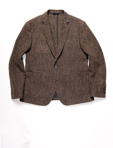 BROOKLYN TAILORS - BKT35 Unstructured Jacket in Flecked Donegal Tweed - Chestnut