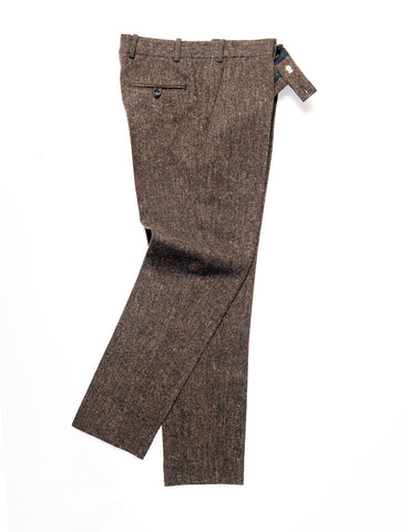 BROOKLYN TAILORS - BKT50 Tailored Trouser in Flecked Donegal Tweed - Chestnut