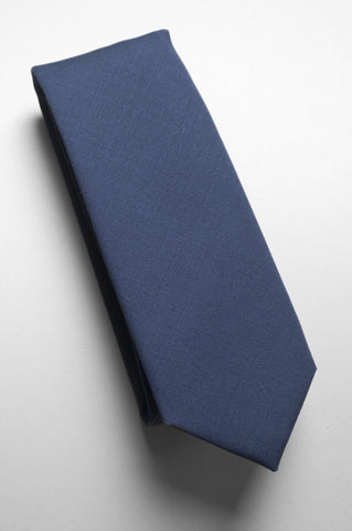 BROOKLYN TAILORS - Solid Wool Necktie - Dark Navy Blue
