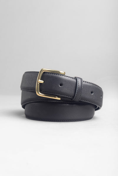 FINAL SALE: BROOKLYN TAILORS - Dress Belt in Black with Brass