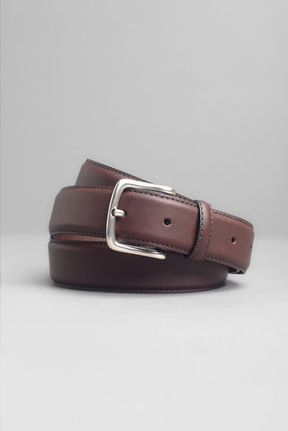 FINAL SALE: BROOKLYN TAILORS - Dress Belt in Deep Brown with Nickel