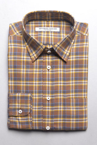 FINAL SALE: BROOKLYN TAILORS - Brushed Cotton Flannel - Brown & Yellow