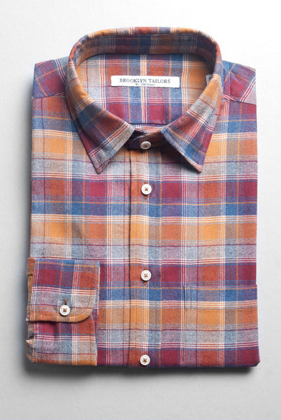 BROOKLYN TAILORS - BKT10 Sport Shirt in Rust Multi Plaid Flannel