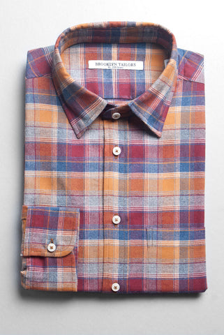 BROOKLYN TAILORS - Plaid Flannel Shirt - Rust, Ochre, Blue and Ecru