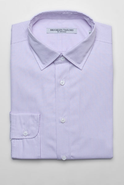 FINAL SALE - BROOKLYN TAILORS - Small Gingham Dress Shirt - White and Lavender