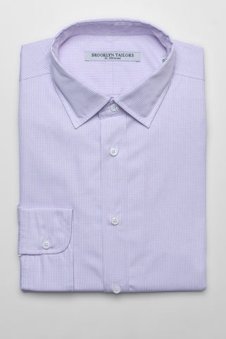 FINAL SALE - BROOKLYN TAILORS - BKT20 Dress Shirt in White and Lavender Small Gingham