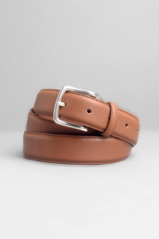 FINAL SALE: BROOKLYN TAILORS - Dress Belt in Honey Brown with Nickel