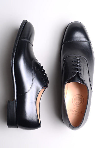 JOSEPH CHEANEY - Alfred Capped Oxford in Black Calf Leather