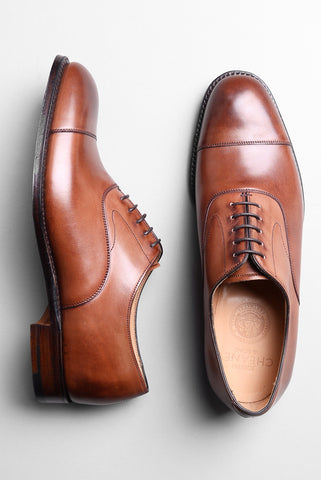 JOSEPH CHEANEY - Alfred Capped Oxford in Conker Calf Leather