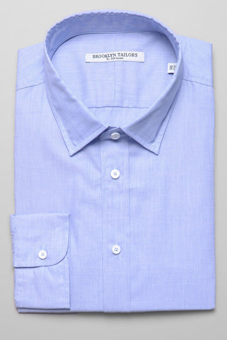 BROOKLYN TAILORS - End-on-End Dress Shirt - Light Blue