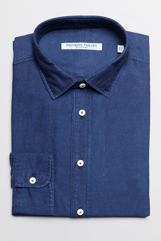 BROOKLYN TAILORS - Stonewashed Denim Twill Dress Shirt - Indigo