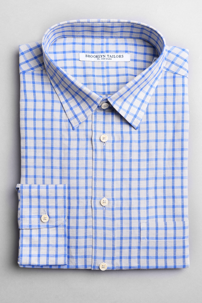 BROOKLYN TAILORS - Cotton/Linen Windowpane Shirt in Grey and Royal Blue Check