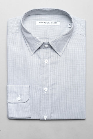 BROOKLYN TAILORS - BKT20 Wide Micro grid Dress Shirt - White/Black