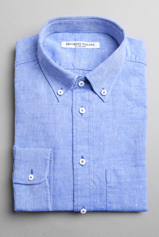 BROOKLYN TAILORS - Cotton & Linen Summer Oxford in Sea Blue