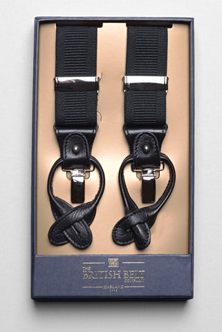 THE BRITISH BELT COMPANY - Black Ridley Braces/Suspenders