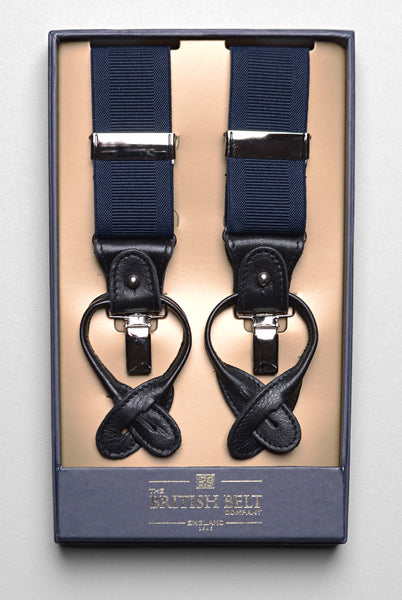 THE BRITISH BELT CO. - Navy Ridley Braces/Suspenders