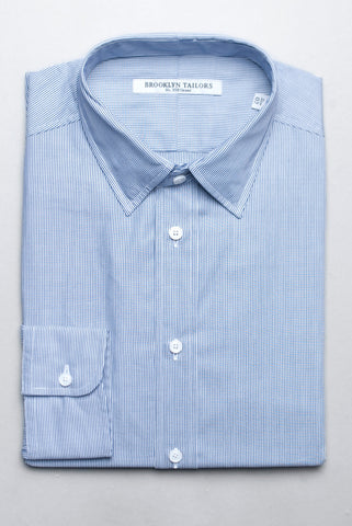 BROOKLYN TAILORS - BKT20 Narrow Bar Stripe Dress Shirt in White and Navy