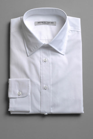BROOKLYN TAILORS - Classic White Cotton Broadcloth Dress Shirt