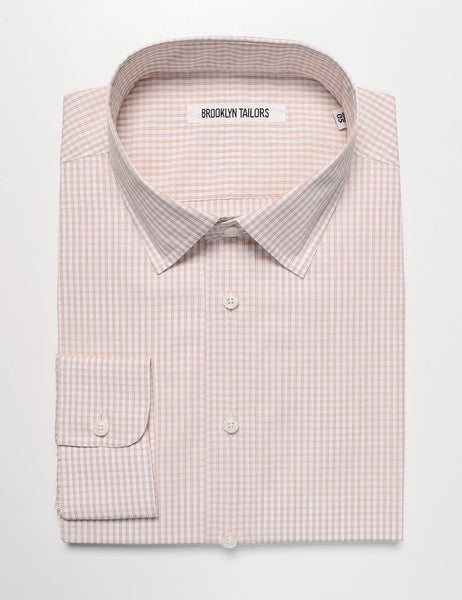BROOKLYN TAILORS - BKT20 Dress Shirt in Micro Check - White / Espresso